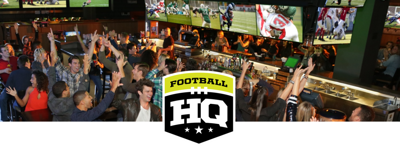Sports Bar Group Image with Football HQ Logo